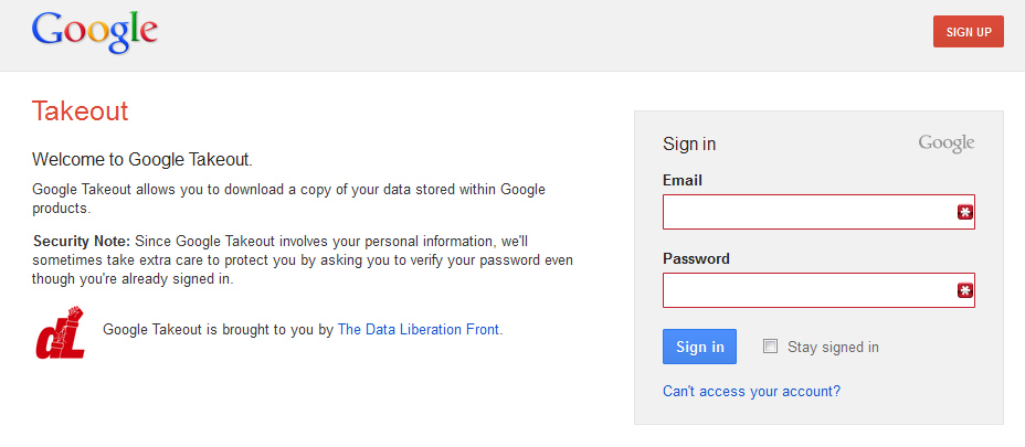 google takeout login